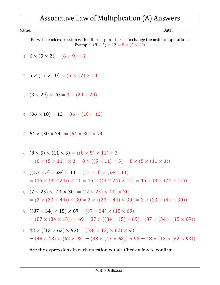 Associative Property Of Multiplication Worksheet associative Law Of Multiplication whole Numbers Ly A