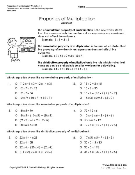 Associative Property Of Multiplication Worksheet Properties Of Multiplication Worksheet for 3rd 6th Grade