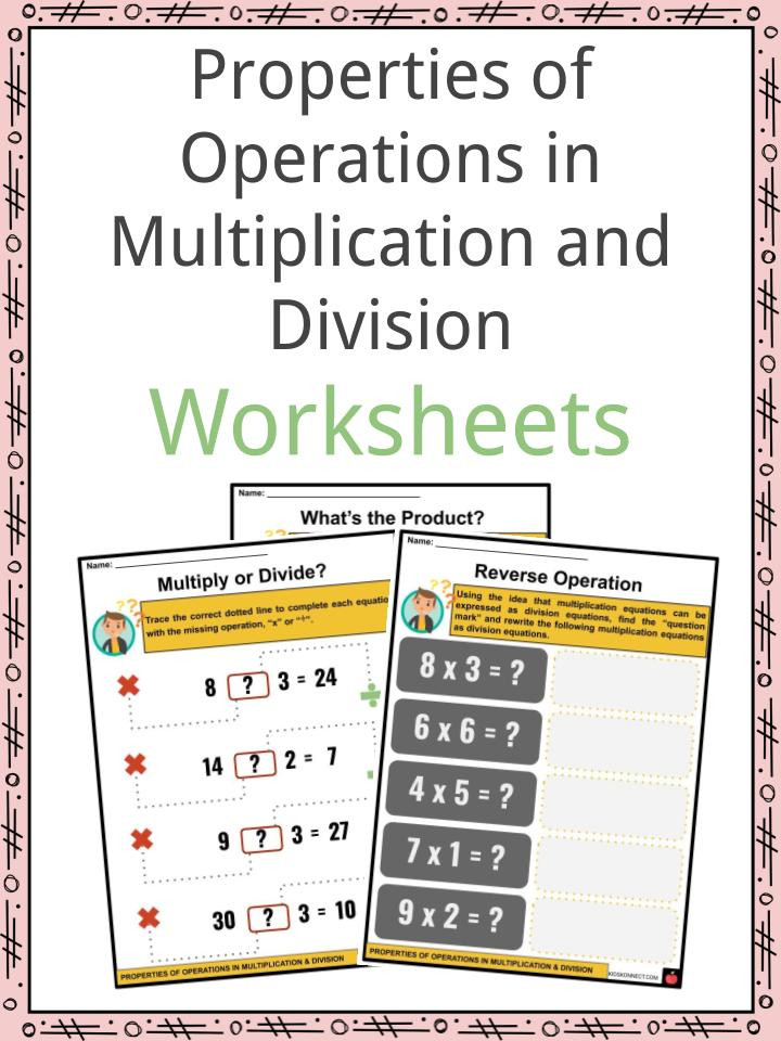 Associative Property Of Multiplication Worksheet Properties Of Operations In Multiplication and Division