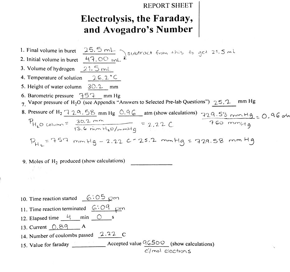 report sheet electrolysis faraday avogadro s number 1 final volume buret 25 5 ml 2 initial q