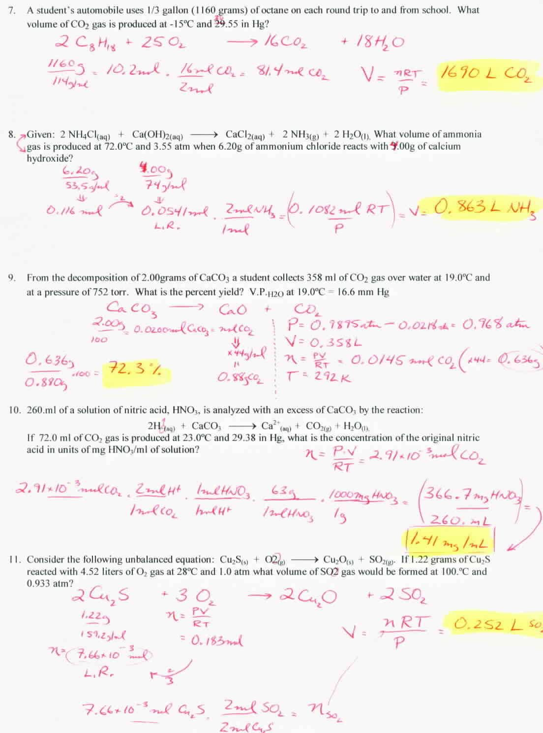 Avogadro Number Worksheet Answers Stoichiometry and Avogadro S Principle Gas Stoichiometry