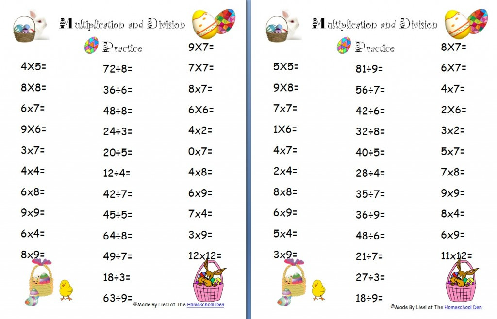 Basic Multiplication and Division Worksheets Free Easter Multiplication and Division Worksheets