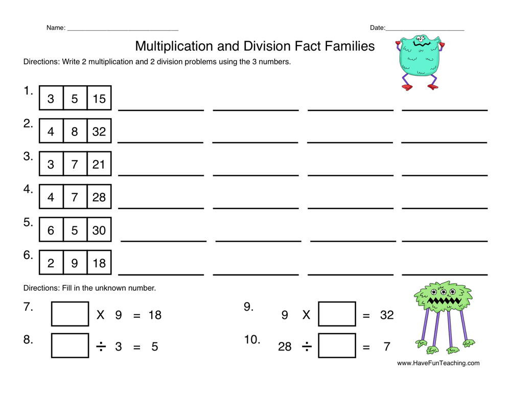 Basic Multiplication and Division Worksheets Multiplication Division Fact Families Worksheet
