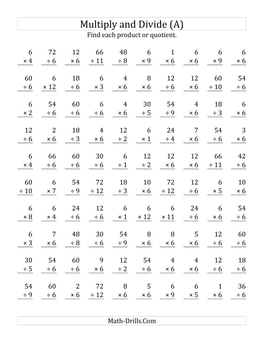 Basic Multiplication and Division Worksheets Multiplying and Dividing by 6 A