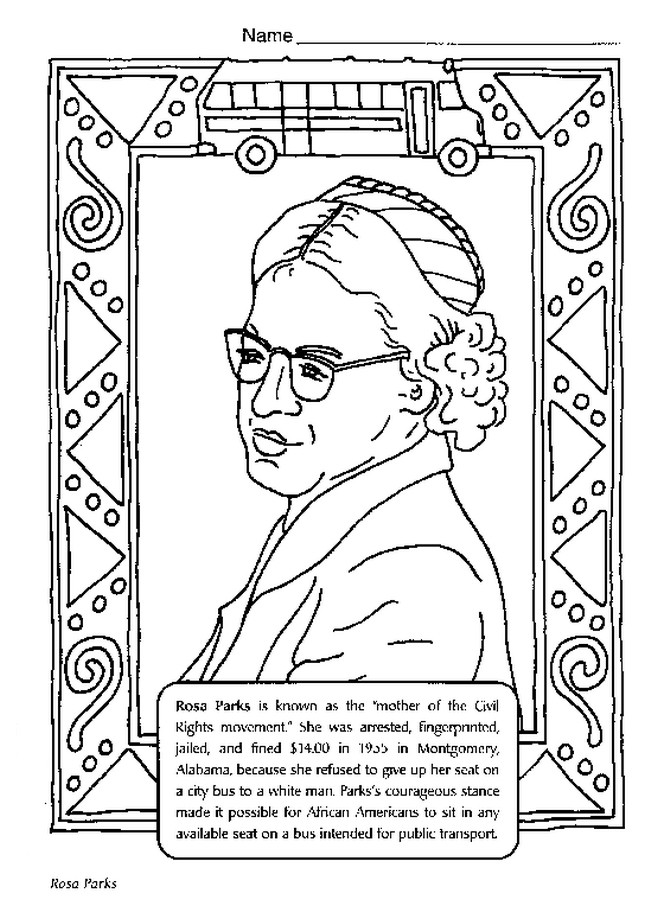 Black History Printable Worksheets Black History Month Coloring Best for Kids Rosa Parks