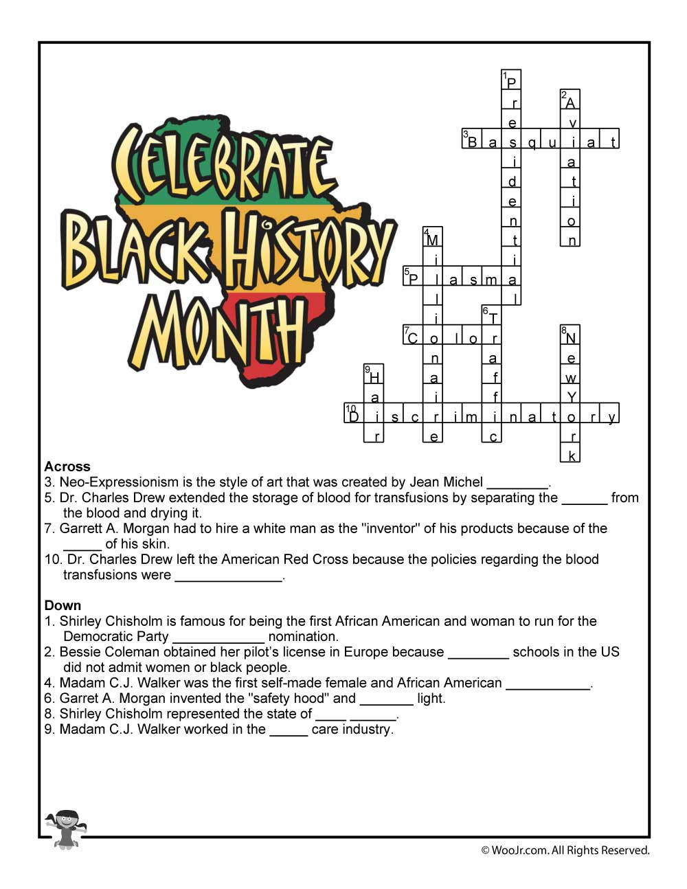 Black History Printable Worksheets Black History Month Crossword Worksheet Answer Key