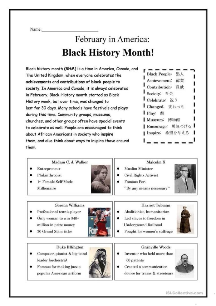 Black History Printable Worksheets Black History Month Worksheets Ancient Facts Science Act