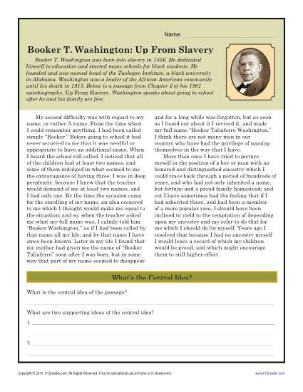 Black History Printable Worksheets Booker T Washington Up From Slavery