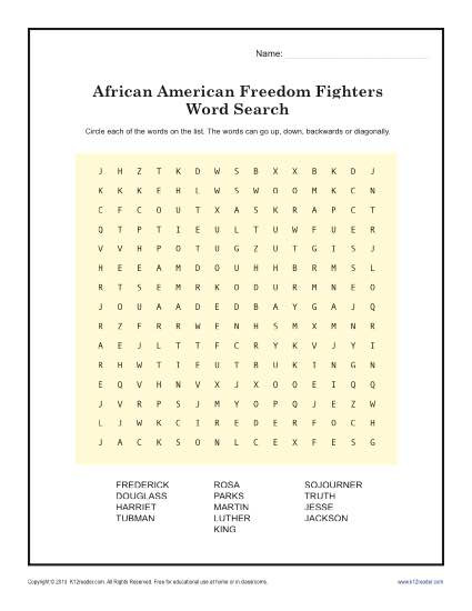 Black History Printable Worksheets Freedom Fighter S Word Search
