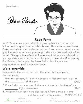 Black History Printable Worksheets Rosa Parks Historical Heroes Worksheet