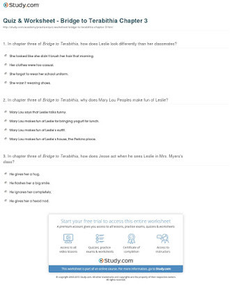 Bridge to Terabithia Printable Worksheets Bridge to Terabithia Answer Key