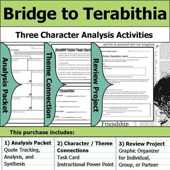 Bridge to Terabithia Printable Worksheets Bridge to Terabithia Character Analysis Packet theme Connections & Project