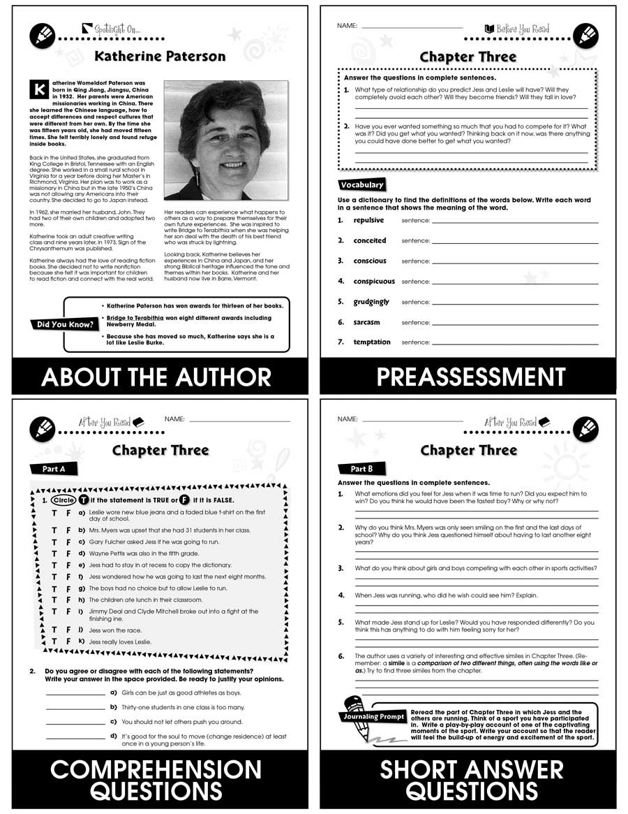Bridge to Terabithia Printable Worksheets Bridge to Terabithia Novel Study Guide Grades 5 to 6