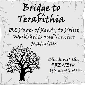 Bridge to Terabithia Printable Worksheets Bridge to Terabithia Novel Unit Study Ready to Use
