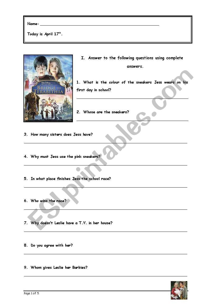 Bridge to Terabithia Printable Worksheets English Worksheets Movie Bridge to Terabithia