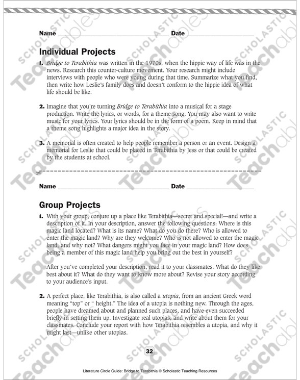 Bridge to Terabithia Printable Worksheets Literature Circle Guide Bridge to Terabithia