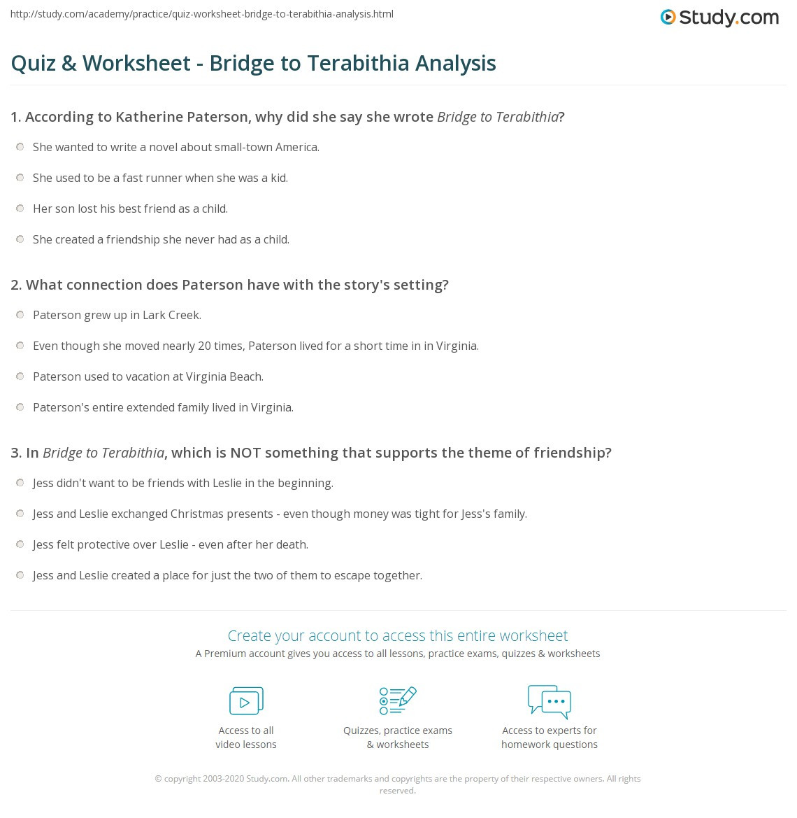 Bridge to Terabithia Printable Worksheets Quiz & Worksheet Bridge to Terabithia Analysis