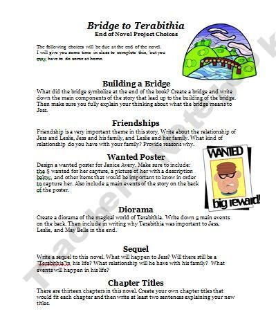 Bridge to Terabithia Printable Worksheets Teachers Notebook