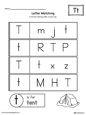 Uppercase and Lowercase Letter Matching Letter T Worksheet