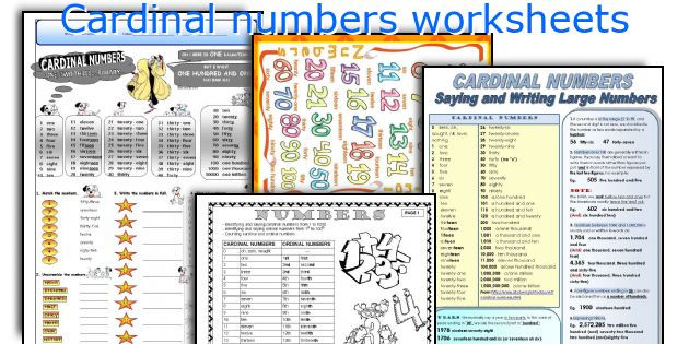 Cardinal and ordinal Numbers Worksheet Cardinal Numbers Worksheets