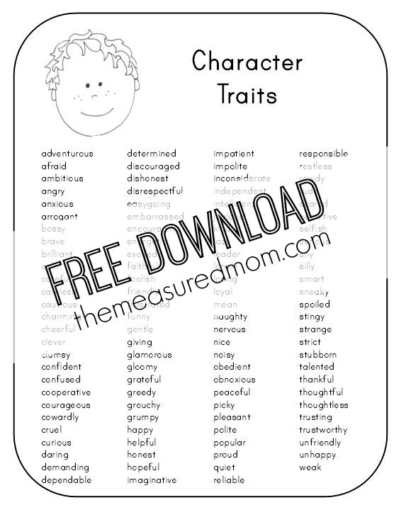 Character Traits Printable Worksheets Character Analysis Worksheet the Measured Mom