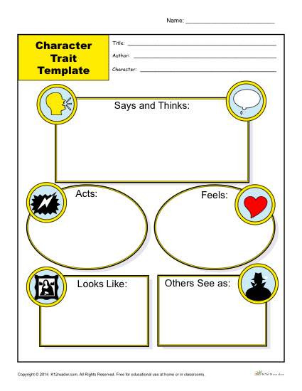 Character Traits Printable Worksheets Character Trait Template