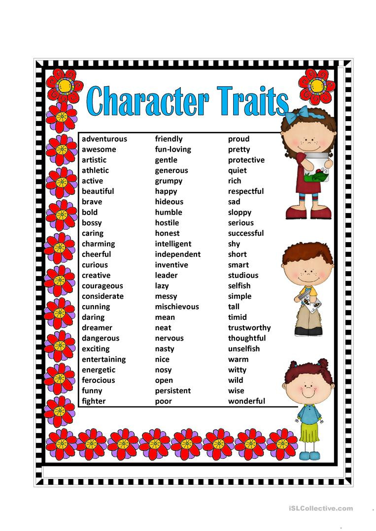 Character Traits Printable Worksheets Character Traits English Esl Worksheets for Distance