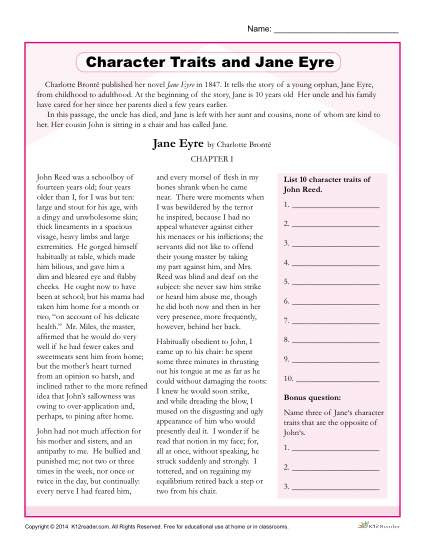 Character Traits Printable Worksheets Character Traits Worksheets