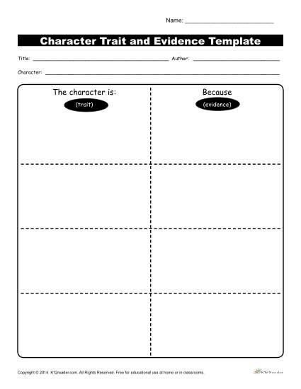 Character Traits Printable Worksheets Character Traits Workshsheets