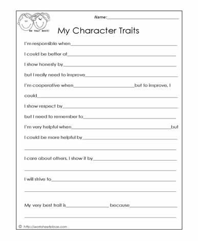 Character Traits Printable Worksheets My Character Traits Worksheets