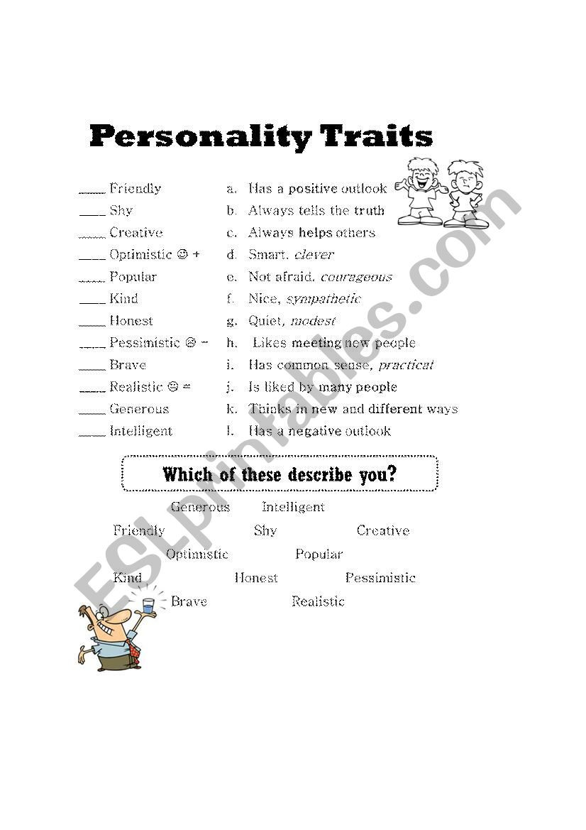 Character Traits Printable Worksheets Personality Traits Esl Worksheet by Mandalynn2104