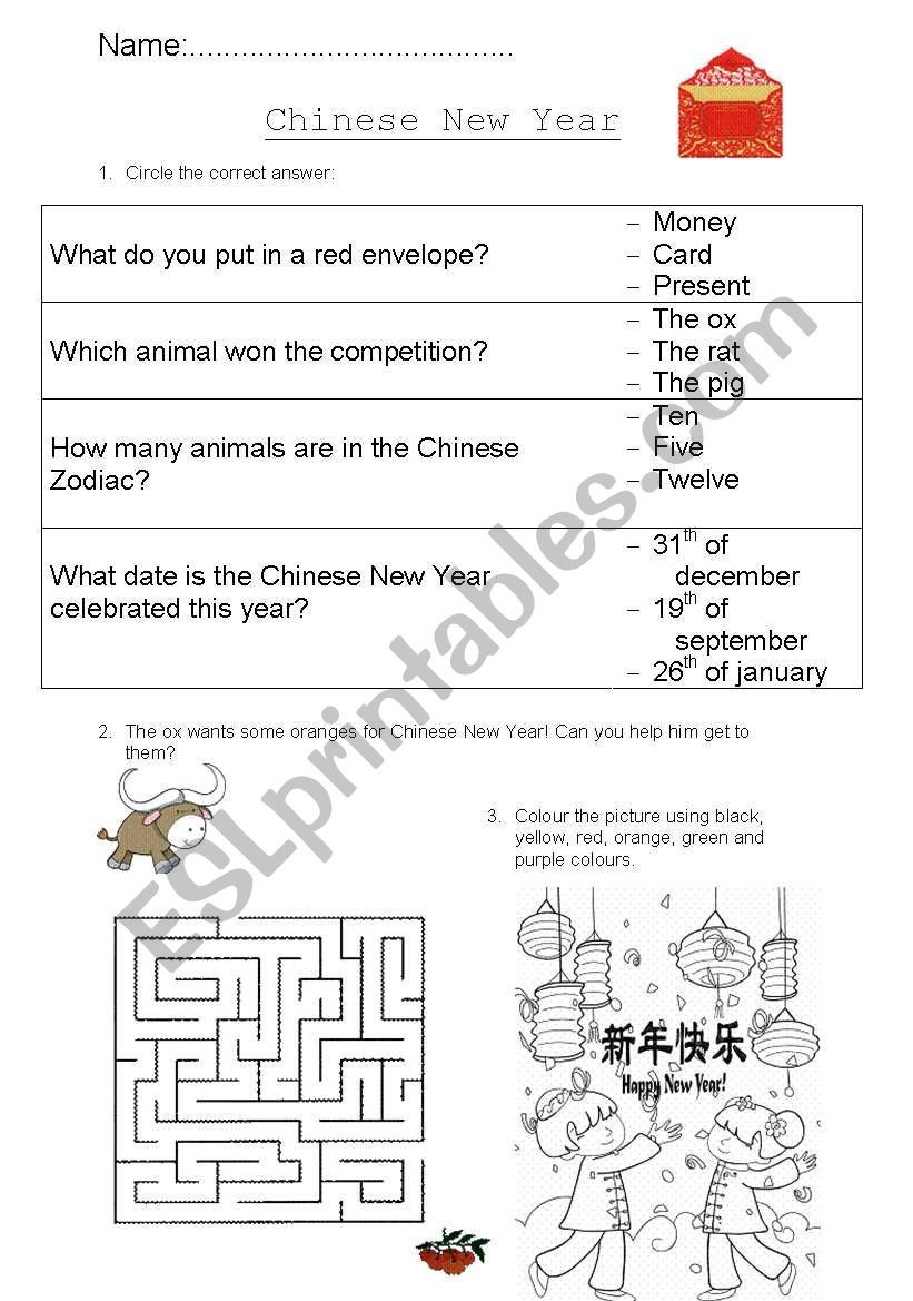 Chinese New Year Worksheets Printable English Worksheets Chinese New Year