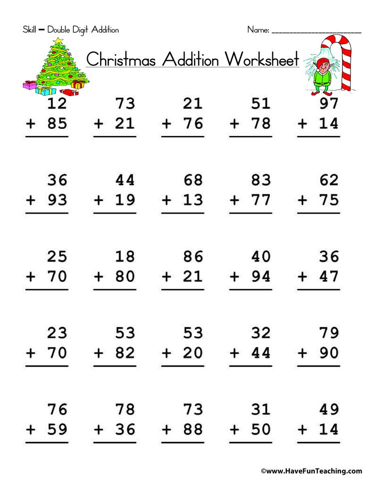 Christmas Math Printable Worksheets Christmas Double Digit Addition Worksheet