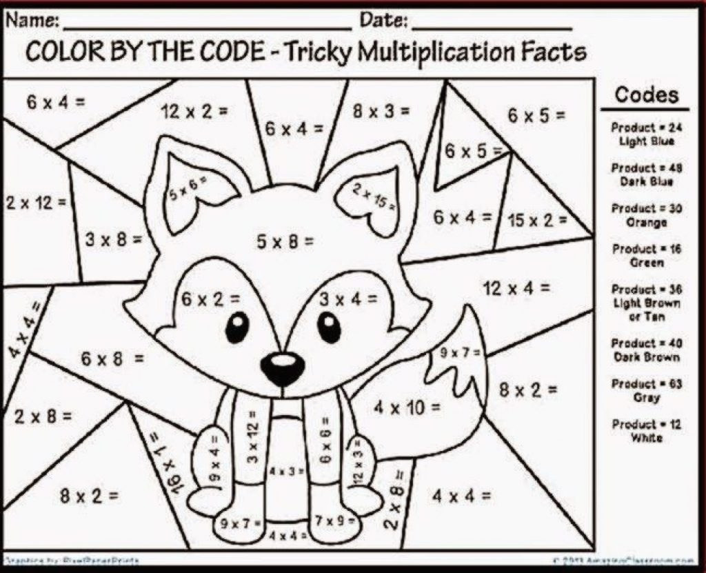 Color by Multiplication Worksheets Fun Multiplication Coloring by Number Worksheetntable