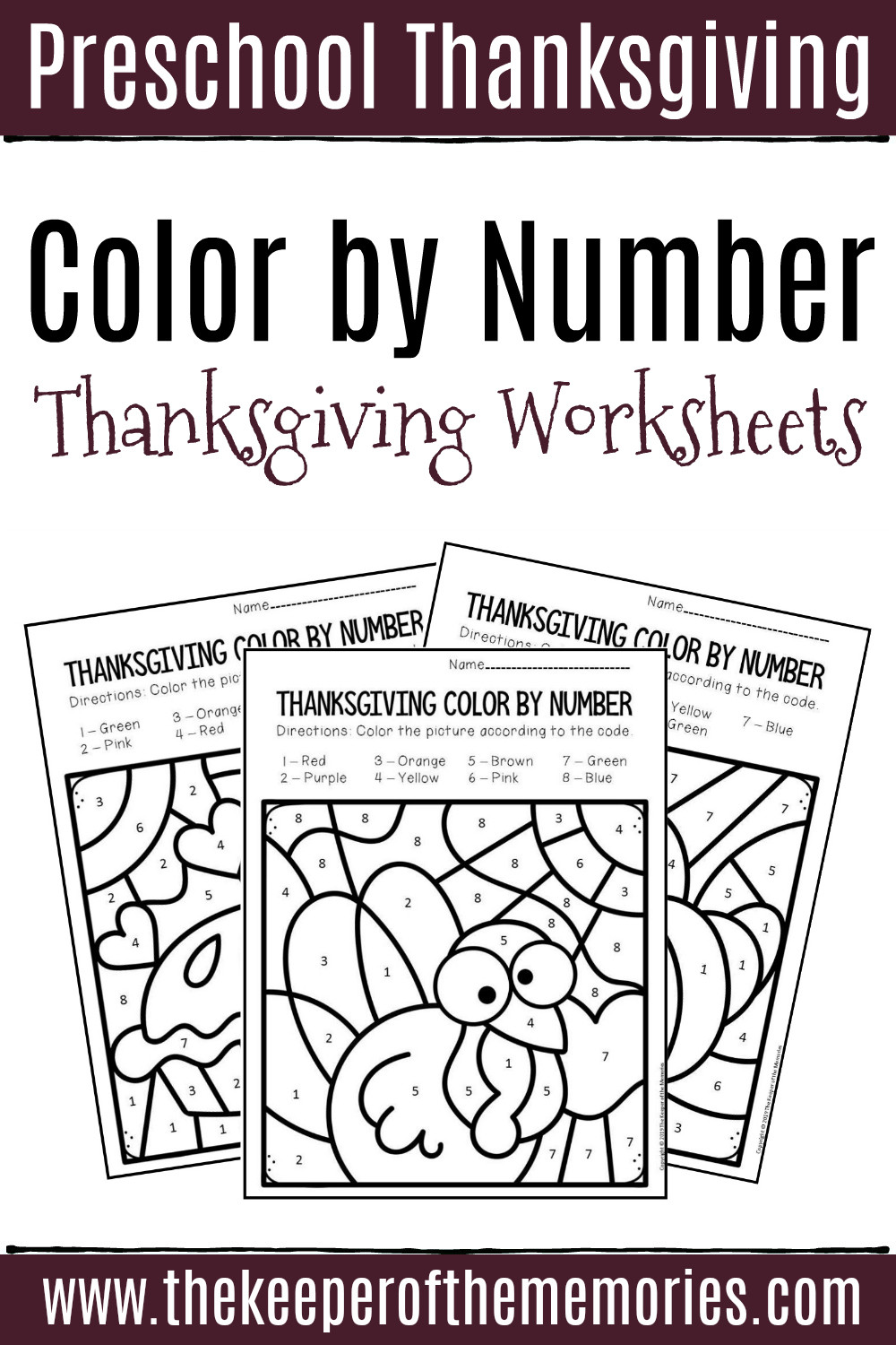 Color by Number Thanksgiving Worksheets Color by Number Thanksgiving Preschool Worksheets