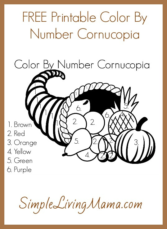 Color by Number Thanksgiving Worksheets Free Printable Color by Number Cornucopia