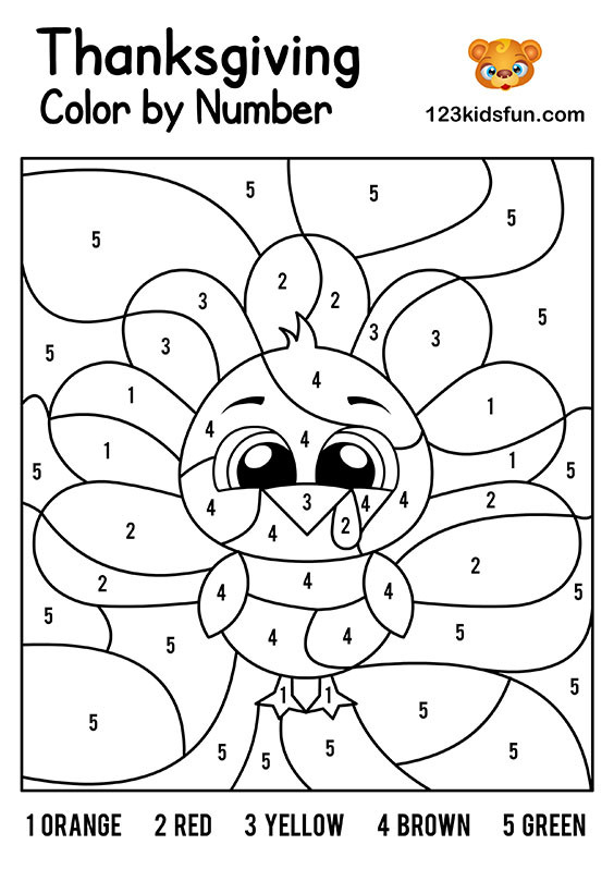 Color by Number Thanksgiving Worksheets Free Thanksgiving Printables