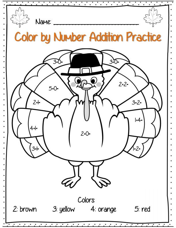 Color by Number Thanksgiving Worksheets Thanksgiving Color by Number Coloring Home Math Worksheets