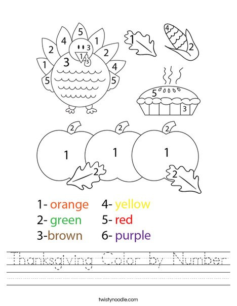 Color by Number Thanksgiving Worksheets Thanksgiving Color by Number Worksheet Twisty Noodle