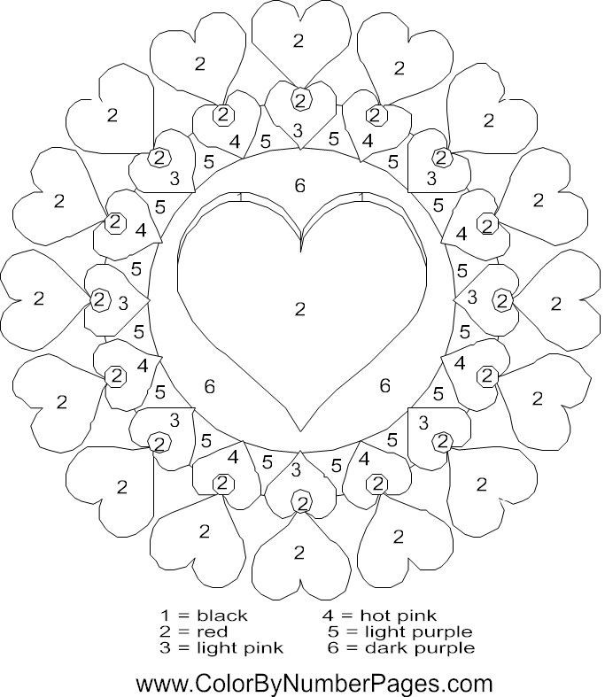 Color by Number Valentine Worksheets Valentines Day Color by Number
