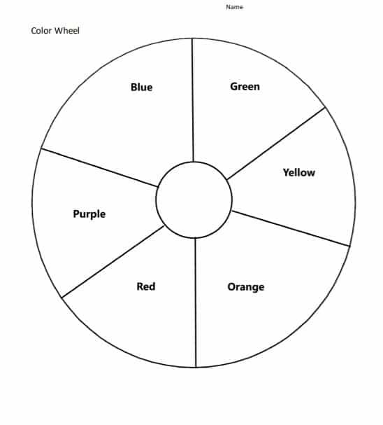 Color Wheel Worksheets Printable Blank Color Wheel Worksheet Free Download