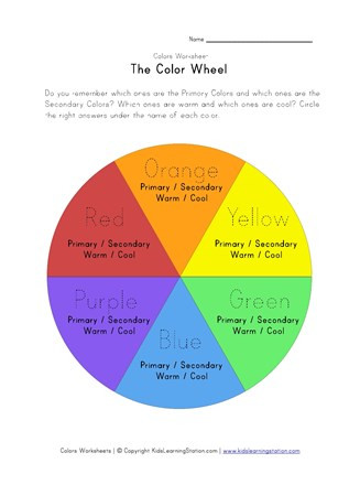 Color Wheel Worksheets Printable Color Wheel Worksheet