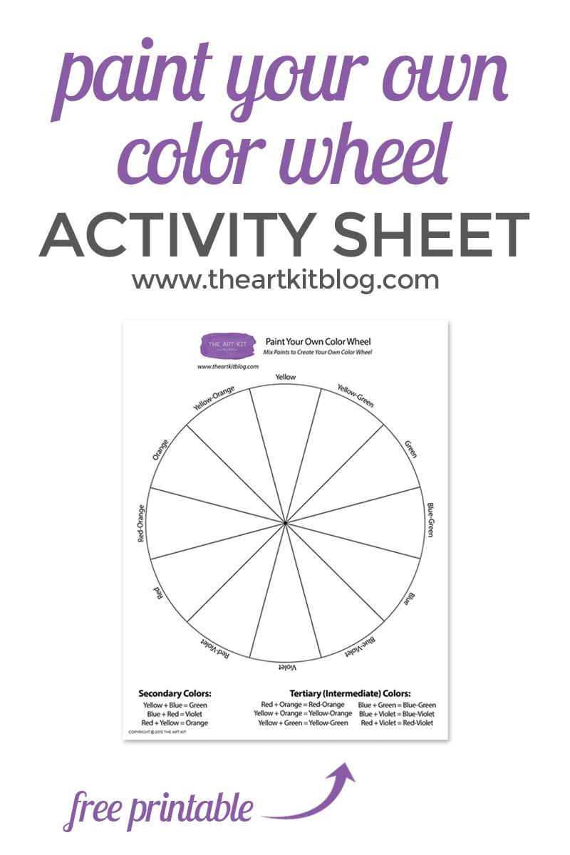 Color Wheel Worksheets Printable Paint Your Own Color Wheel Free Printable the Art Kit