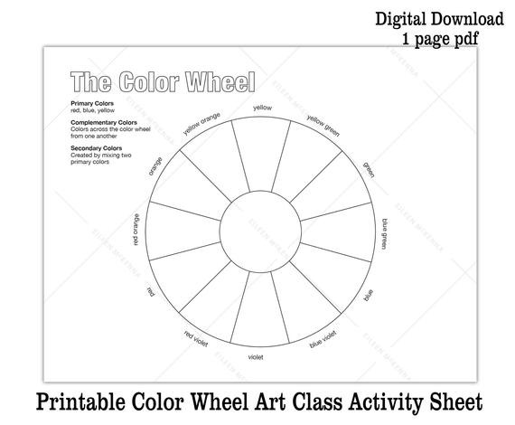 Color Wheel Worksheets Printable Printable Color Wheel Kids Art Class Activity Sheet Digital Download Coloring Sheet
