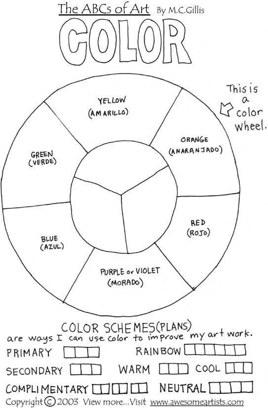 Color Wheel Worksheets Printable the Abcs Of Art Black & White Printable Art Materials Of A