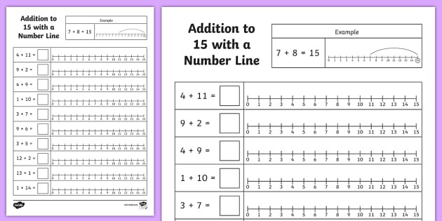 Common Core Number Line Worksheets Addition to 15 Number Line Worksheet