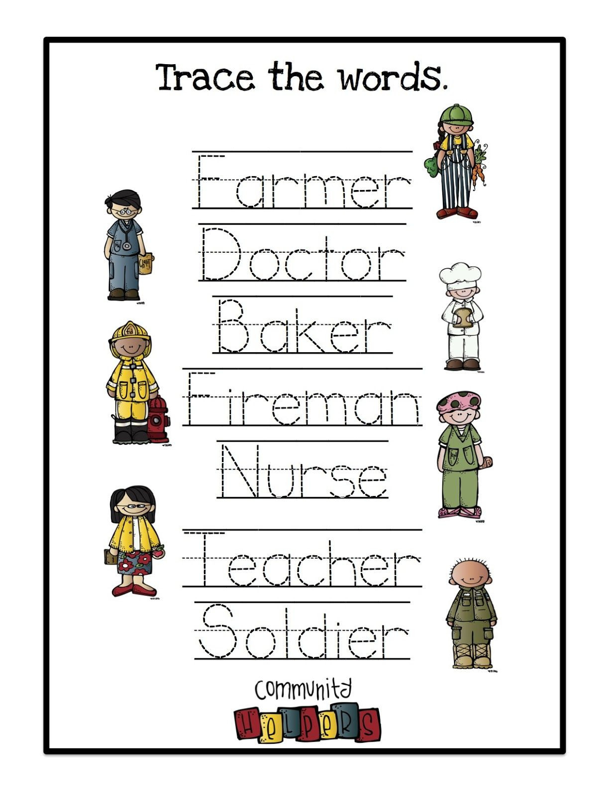 Community Helpers Worksheets Free Printables Munity Helpersoring Pages Preschool for toddlers