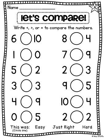 Comparing Numbers First Grade Worksheet Greater Than Less Than Equal to Worksheets and Stations that