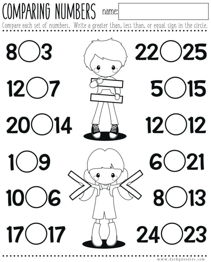 Comparing Numbers First Grade Worksheet Less Than Worksheets Paring Numbers Printable Objects