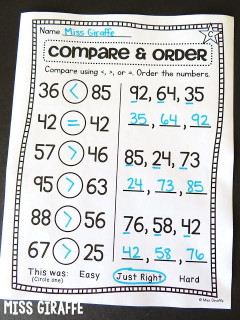 Comparing Numbers First Grade Worksheet Paring Numbers and ordering Numbers Worksheets to